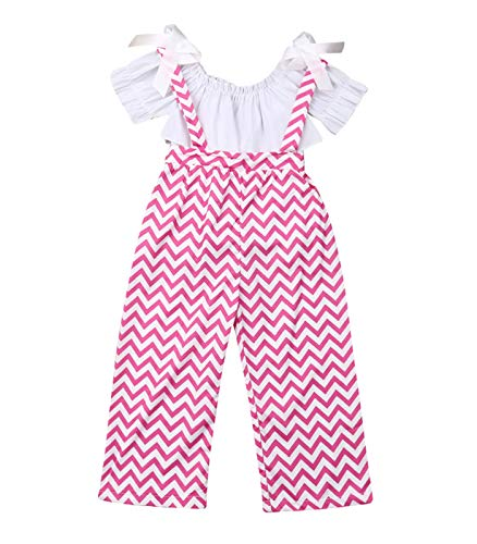 Pink Stripe Shirt Top - Kids Toddler Baby Girl Ruffle Sleeve Fashion Blogger T-Shirt Tops+Stripe Flare Pants Clothes (5T, Pink)