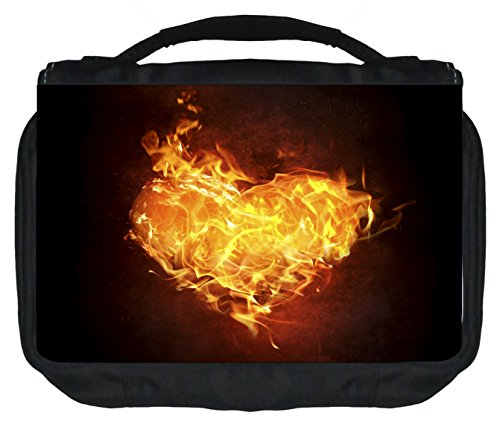 Fiery Heart - Travel Toiletry Bag with Hanger - Love/ Valentine's Day Gift - by Jacks Outlet TM