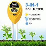 JeahoreKy Soil pH Meter,3-in-1 Soil Tester Kits with Moisture,Light and PH Test for Farm,Garden,Lawn,Indoor & Outdoor/No Battery Needed
