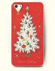 Merry Xmas Season'S Greating A White Christmas Tree In Red Background - OOFIT iPhone 4 4s Case