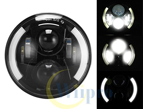 "Wiipro 7"" 7 inch 60W CREE LED Headlight Assembly with Halo Ring Angel Eye & DRL & Turn Lights for Motorcycle Jeep Wrangler Harley"