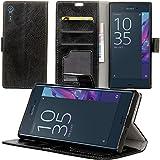 Sony Xperia XZ Case Hülle, Leder Schutztasche Standfunktion Klappetui Kartenfächer Brieftasche Handyhülle Für Sony Xperia XZ Case Smartphone(Schwarz)