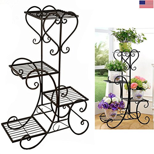 4 TIER Metal Shelves Flower Pot Plant Stand Display ()