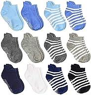 12 Pairs Toddler Non Skid Socks with Grips Anti Slip Bottom, Cotton Non Slip Ankle Crew Socks for Boys, Girls,