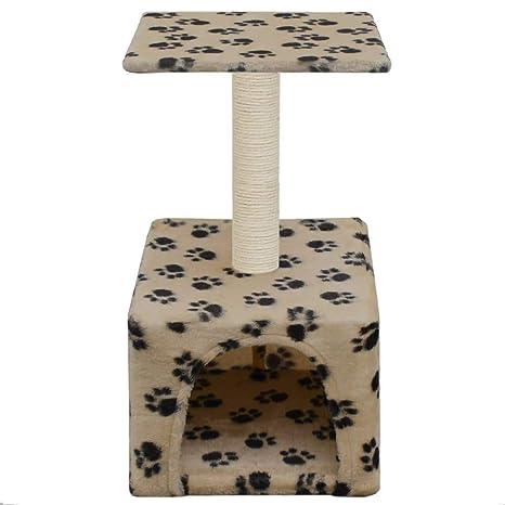 vidaXL Rascador Gatos con Poste Sisal 55cm Huellas Beige Accesorios Mascotas