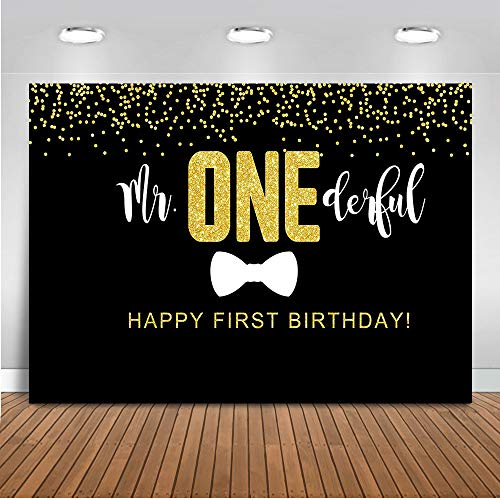 Mocsicka Mr Onederful Backdrop Boy's First Birthday Photography Background 7x5ft Vinyl Black Tie 1st Birthday Party Backdrops