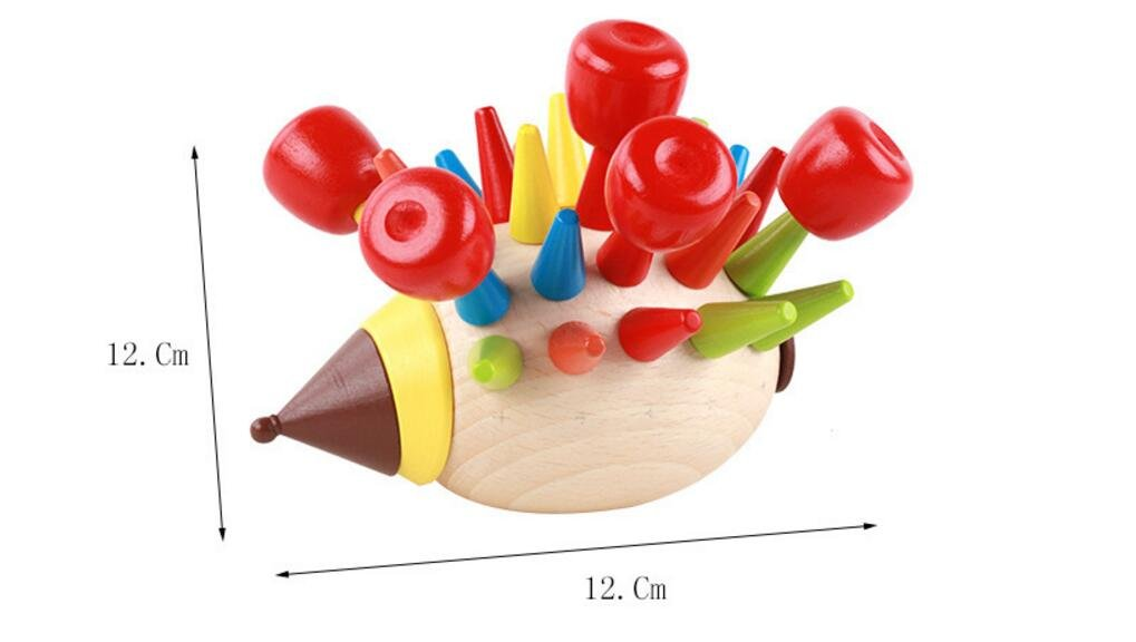 Yingealy Educational Toy Colorful Fun Hedgehog Wooden Toys Children Baby Intelligence Cute Toys (Red)