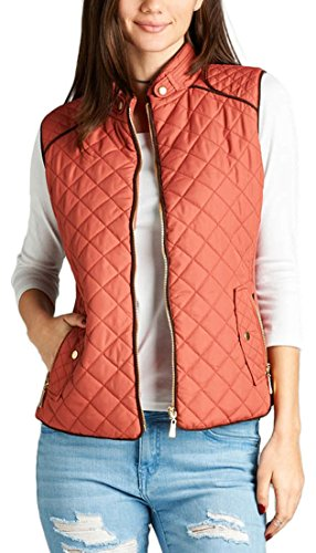 Padded ToBeInStyle Women's Pink Suede With Dusty Piping Quilted Detail Vest a1fSqwU