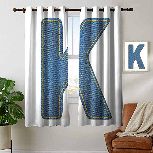 (petpany Blackout Lined Curtains Letter K,Alphabet Font Denim Style Blue Jean Texture Capitalized Character K Illustration,Blue Yellow,Thermal Insulated,Grommet Curtain Panel 1 Pair 52