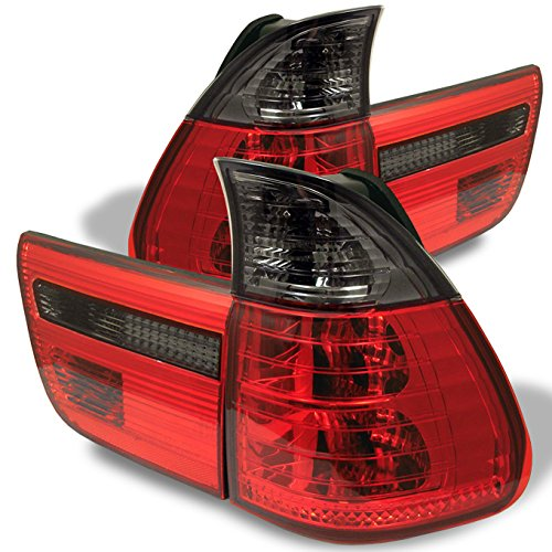 For 00-06 BMW E53 X5 SUV Red Smoked Rear Tail Light Brake Lamps 4pcs Replacement Pair Left + Right ()