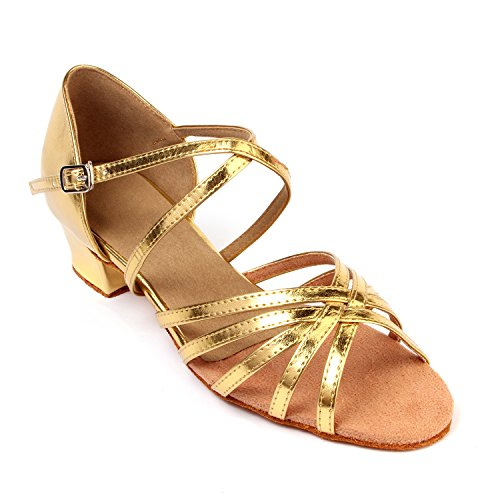 LOVELY BEAUTY Lady's Ballroom Dance Shoes for Chacha Latin Salsa Rumba Practice,Gold PU, 1.6″ Heel, 7.5 B(M) US
