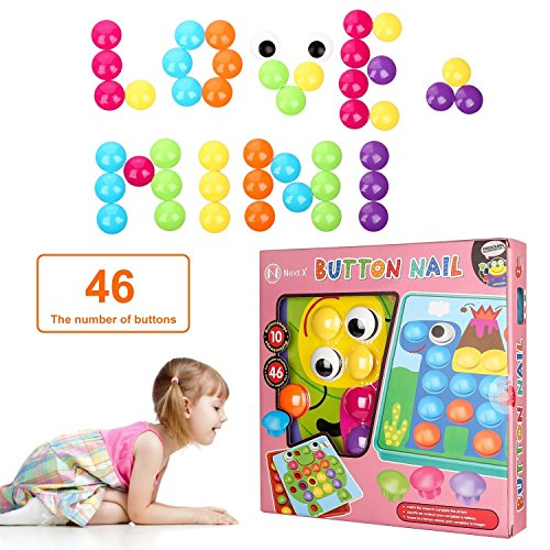 NextX Button Art Toy Color Matching Mosaic Pegboard Early Learning Educational Preschool Games for Kids' Motor Skills (Pink) by NextX (Image #5)