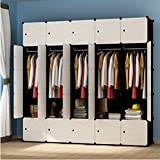 Yigui Portable Clothes Closet Wardrobe Bedroom Armoire Dresser Cube Storage Organizer,Space Saving,Ideal Storage Organizer Cube For Books, Toys, Towels,25 Cubes&5 Hanging Sections