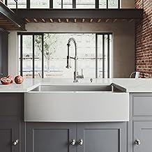 VIGO 33 inch Farmhouse Apron Single Bowl 16 Gauge Stainless Steel Kitchen Sink with Edison Chrome Faucet, Grid, Strainer and Soap Dispenser