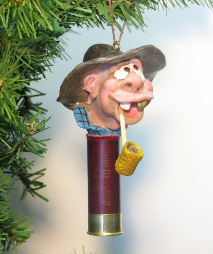 Comical Country Hillbilly Redneck with Corncob Pipe Genuine Shotgun Shell Ornament -