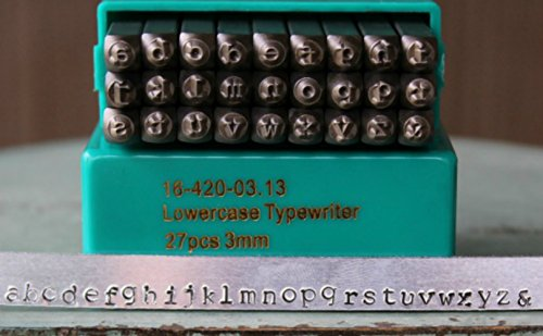 Lowercase Font Set - 3mm Typewriter Font Metal Stamp Alphabet Letter Set, Available in Uppercase, Lowercase or Combination Set (Lowercase (MD-3L))