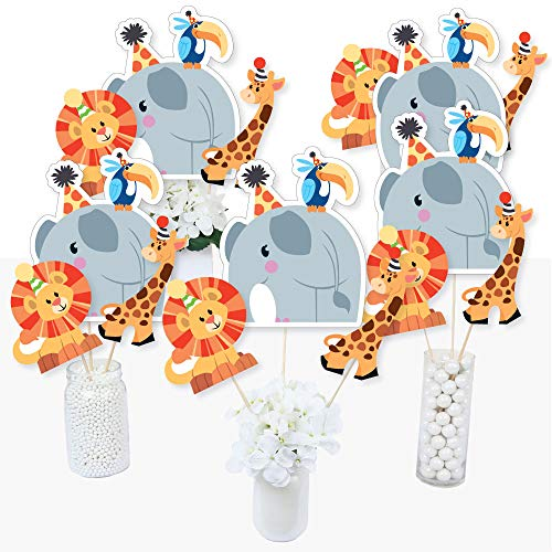 Jungle Party Animals - Safari Zoo Animal Birthday Party or Baby Shower Centerpiece Sticks - Table Toppers - Set of -