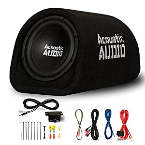 "Acoustic Audio by Goldwood ACA10T Powered Amplified 10"" Car Subwoofer 800W with Wiring Kit and Remote Level Control, Black"