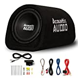 Acoustic Audio by Goldwood ACA10T Powered Amplified 10'' Car Subwoofer 800W with Wiring Kit and Remote Level Control, Black