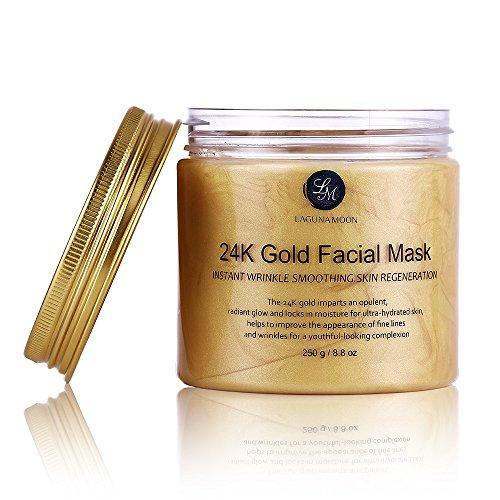Lagunamoon - Máscara facial de oro de 24 quilates para tratamiento facial antiarrugas, minimizador de poros, tratamiento de cicatrices de acné y eliminador ...
