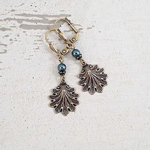 (Antiqued Brass Seashell Earrings with Teal Swarovski Crystal Simulated Pearls)
