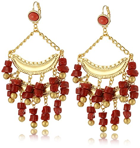 [Kenneth Jay Lane Satin Gold with Dark Coral Chip Drop Earrings] (Kenneth Jay Lane Coral)