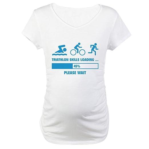 b37e604b CafePress Triathlon Skills Loading Maternity T Shirt Cotton Maternity T- Shirt, Cute & Funny