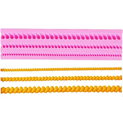 MENGCORE 3D Knit Rope Silicone Pearl Fondant Mould Cake Border Decorating Molds Sugar Icing Gumpaste Kitchen DIY Baking Tools