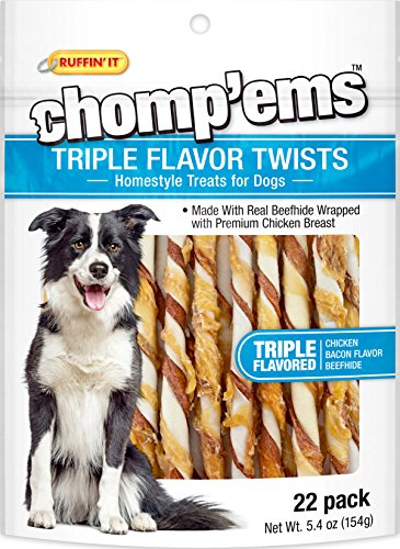 - Westminster Pet Products Ruffin' It Chomp'Ems Triple Flavor Twist Chicken Bacon & Beefhide Snack, 5.4 Oz