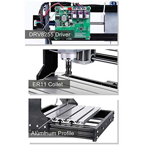 Genmitsu CNC 3018-PRO Router Kit GRBL Control 3 Axis Plastic Acrylic PCB PVC Wood Carving Milling Engraving Machine, XYZ Working Area 300x180x45mm by Genmitsu (Image #4)