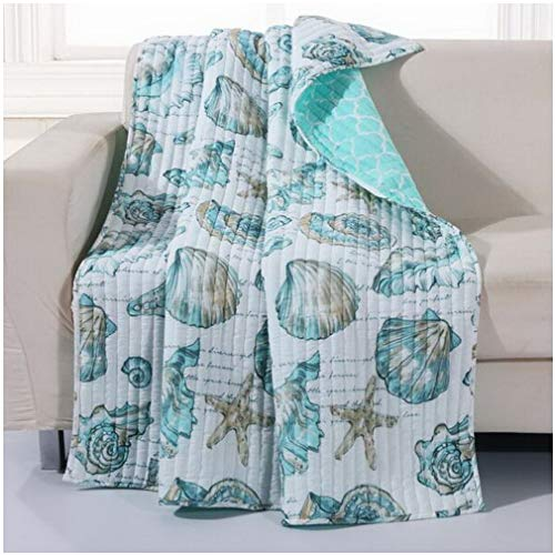 (Finely Stitched Seaside Beach Seashell Coastal Inspired Lap Throw Blanket Luxury Soft Microfiber Reversible Bedding Aqua Blue Green - Includes Bed Sheet Straps)