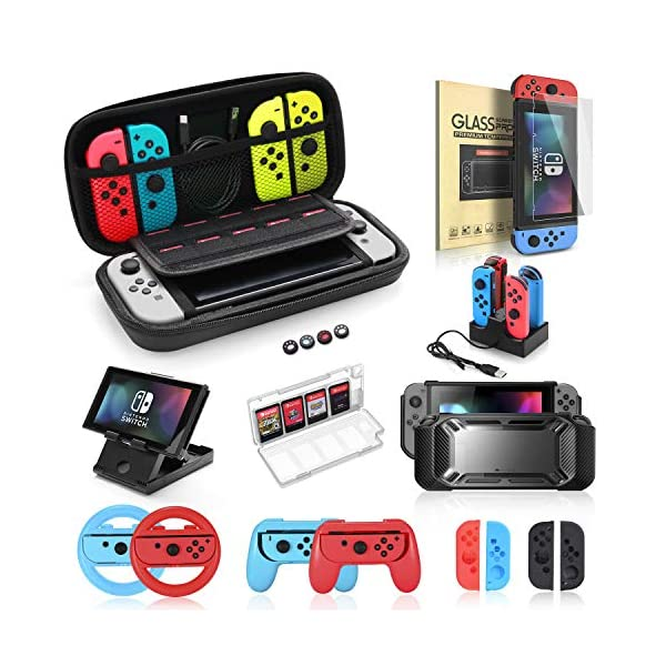Accessories Bundle for Nintendo Switch, Kit with Carrying Case,Protective Case with Screen Protector,Compact Playstand,Game Case,Joystick Cap,Charging Dock,Grip and Steering Wheel for Nintendo Switch 1