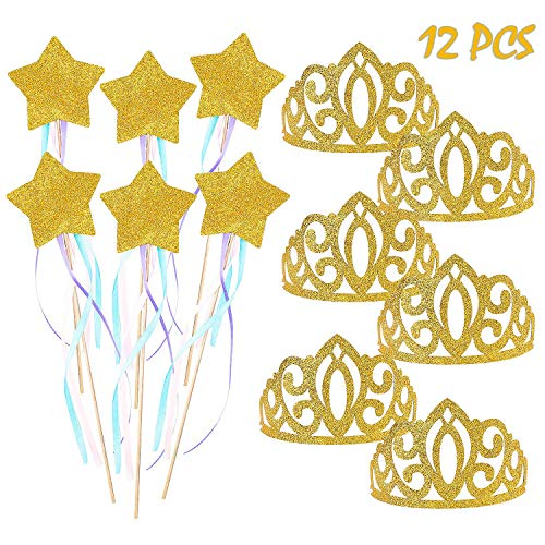 BeYumi Birthday Party Princess Crown and Fairy Wand Set, 6 PCS Glitter Crowns and 6 PCS Magic Wands for Girls, Party Favors, Costume Accessories, Dress Up Fairytale Role Play -