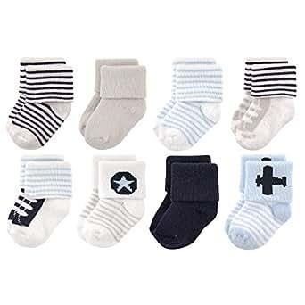 Luvable Friends Baby 8 Pack Newborn Socks, Airplane, 6-12 Months