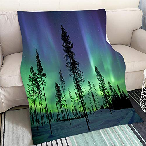 Custom Antibacterial and wear Resistant Blanket Aurora Borealis Perfect for Couch Sofa or Bed Cool -