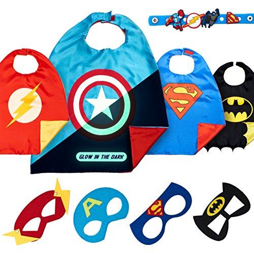 LAEGENDARY Superhero Costumes Boys Birthday Toys - 4 Super Hero Capes Masks Kids (Halloween X Factor)
