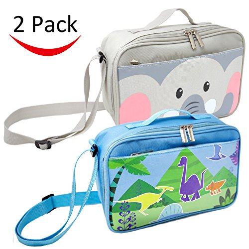 2 Pack Lunch Bags for Kids and Toddlers, Insulated and Water-Resistant Lunch Bag, Reusable Cooler Bags with Adjustable Strap, 10