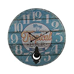 Zeckos Wood Wall Clocks Tropical Bar Distressed Wood Round Pendulum Wall Clock 23 Inch 23 X 23 X 0.25 Inches Light Blue