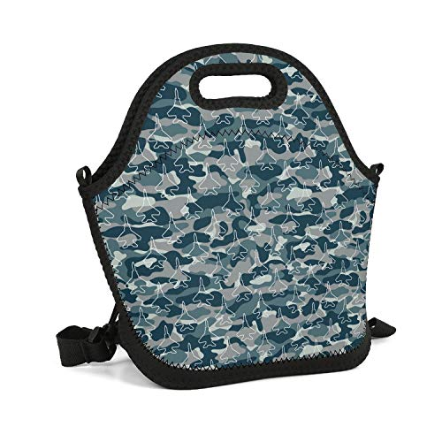SHIWERJHC Blue Camouflage Army Universe Aircraft Neoprene Lunch Tote Printed Insulated Thermal Reusable Lunch Bag Box for Women Men Child School Work Outside (Best Army Universe Headbands)