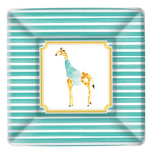 Boston International 8 Count Rosanne Beck Square Paper Dessert Plates, Giraffe (Striped Paper Plates)