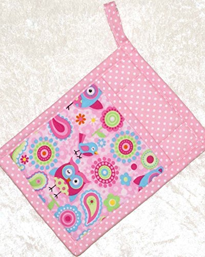 - 1 Pocket Pot Holder With Hanging Loop - Cheerful Paisley Owls and Birds With Pink Dots Accent Fabric