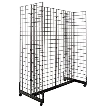 Amazon Com Only Hangers Gridwall Panel Display Fixture With Gondola Base Black Grid Gondola Unit With Casters Industrial Scientific