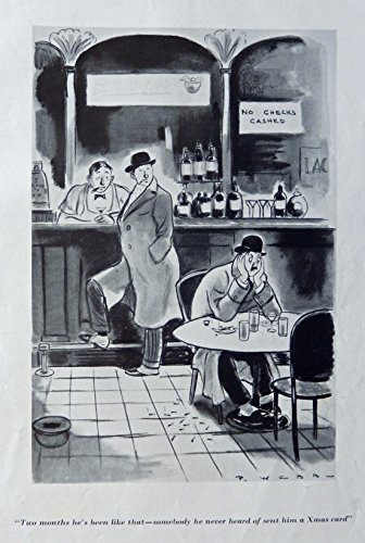 (P. Webb, 30's Illustration, full page print art, (Cartoon, Xmas card) Rare 1935 Esquire Magazine Art)