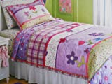 - Purple Happy Flower Quilt Set - Twin