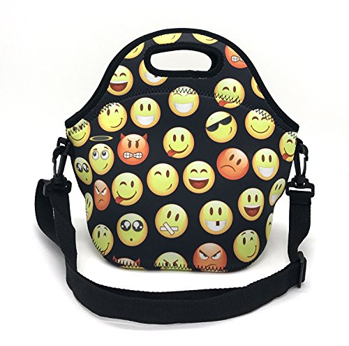 Wanty New Fashion Neoprene Insulated Waterproof Lunch Tote Bag Lunch Box Travel School Lunch Bags Grocery Bags Picnic Bags with Zipper and Handle Strap, Keeps Food Hot and Cold (Emoji) - Fruit Lunch Bag