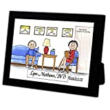 Personalized Friendly Folks Cartoon Caricature in a Color Block Frame Gift: Therapist, Psychologist - Female Great for psychologist, therapist, psychotherapist, drug counselor, marriage counselor