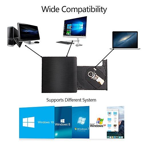 MAXEDOD External DVD Drive, USB 3.0 CD Rom Drive, Ultra Slim DVD/CD Writer Burner Player High Speed Data Transfer Drive for Windows XP/2003/Vista/7/8.1/10, Linux, all Version Mac OS System Black by MAXEDOD (Image #4)