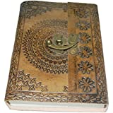 "M&N Handmade Tanned Leather Journal, Notebook, Blank Pages, Metal Clasp, 7""x5"""