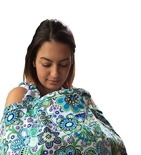DsGNbaby Nursing Cover Adjustable Strap Rigid Neckline Terrycloth Pockets Green