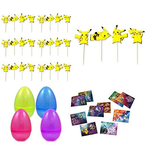 Pokemon-Pikachu Cupcakes Toppers 24 pcs, Kids Party Decoration,Pikachu Pokemon Cupcake Picks Toppers